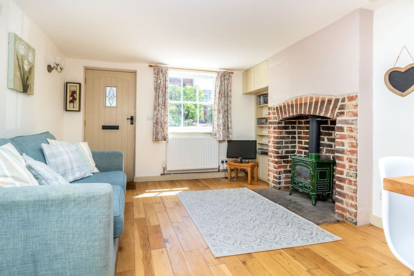 Cosy living room with gas fire