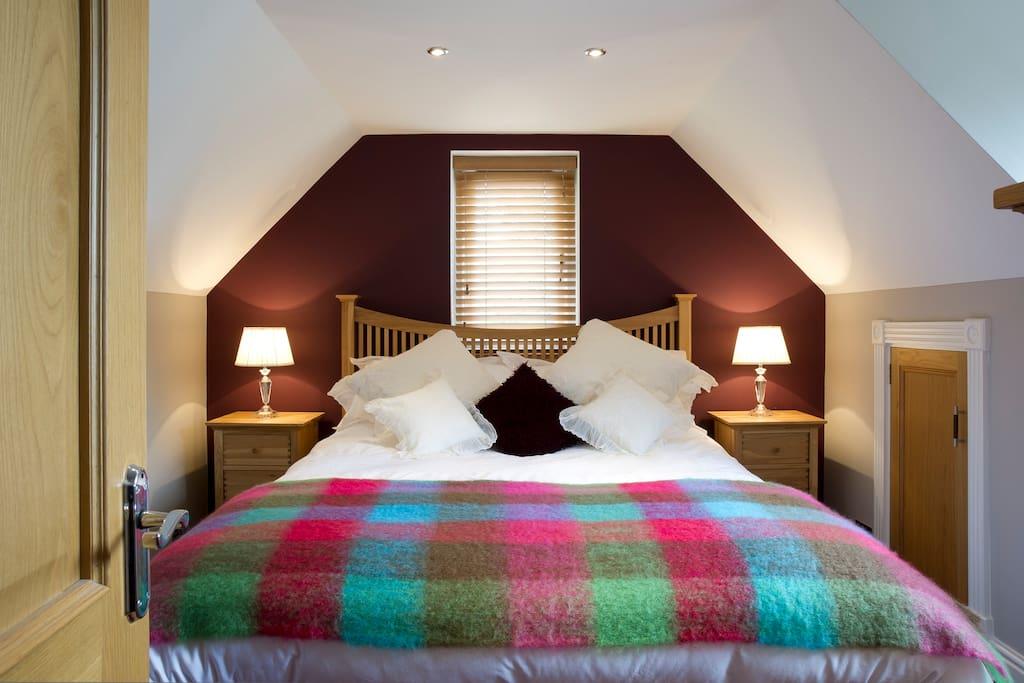 Luxury memory foam bed with luxury bedding...