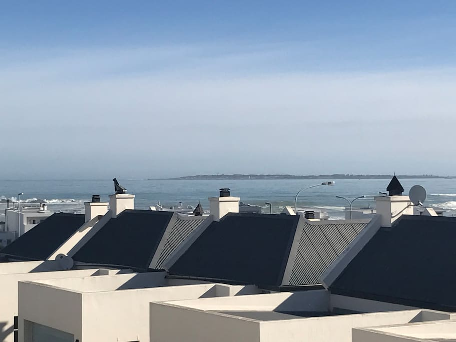Sea view and view of Robben Island from balcony