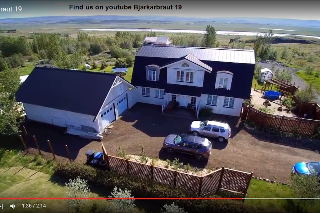 You can find a video on youtube of our house taken by one of our guests with a drone. Just type Bjarkarbraut 19. For more check this link https://www.youtube.com/watch?v=fAcx_1r2An8