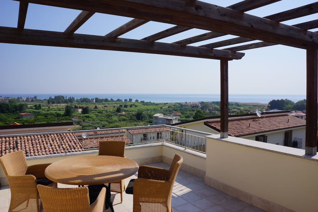 Top floor patio with view.
