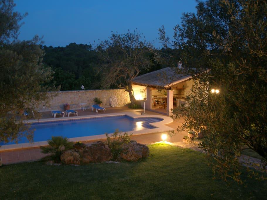 Vistas a la piscina, jardín y barbacoa