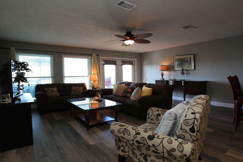 Living room with sweeping ocean views