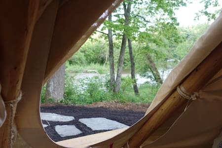 GLAMPING IN STYLE!!  STEPS AWAY FROM THE RIVER!!