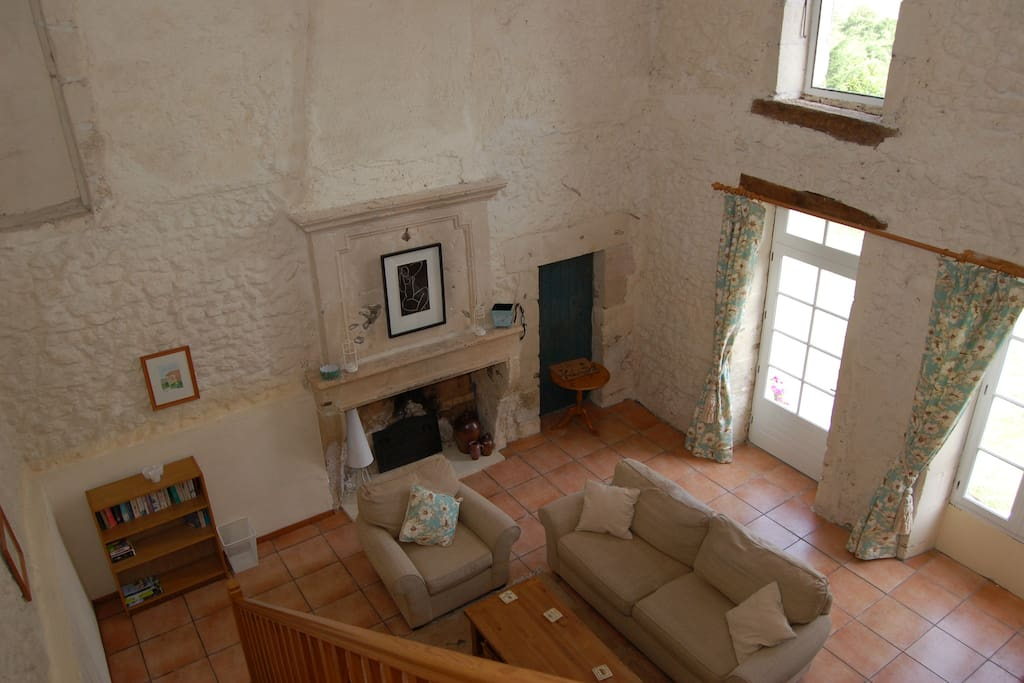 Vaulted sitting room from upstairs gallery