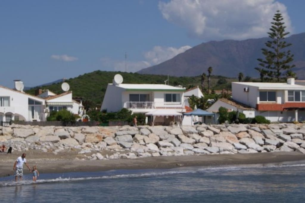 The Villa in the middle. View from the Beach