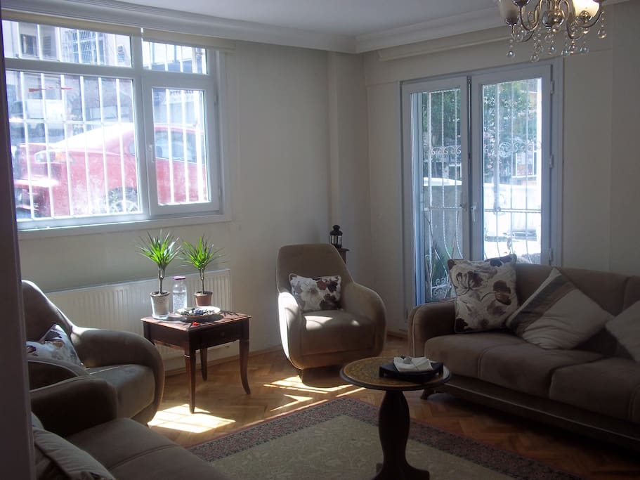 The living room with sofas which can be used as double beds