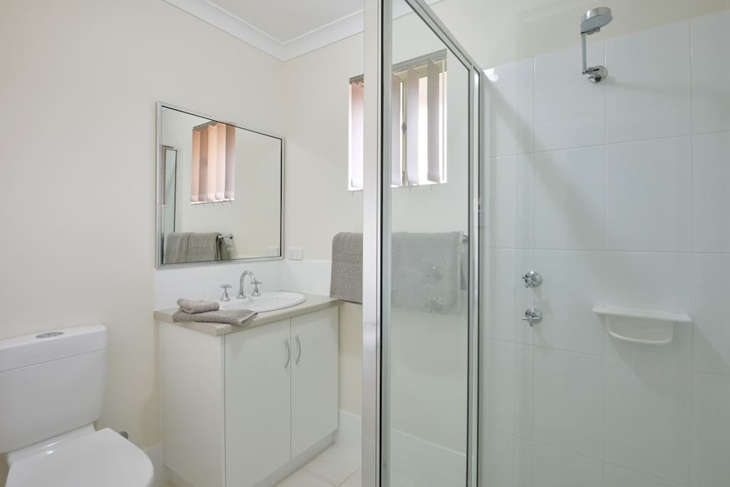 Ensuite bathrooms, include shower and toilet.  Towels too.