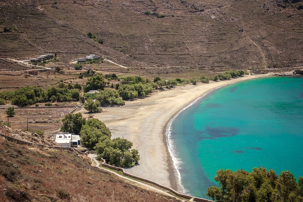 Ganema bay with the two Serifos Dream houses on top complex. Just a 4mins easy walk any time of the day the sun, the beach, the sea is yours.
