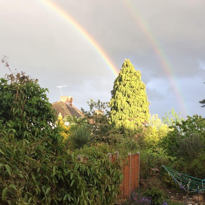 A double rainbow is the highlight!