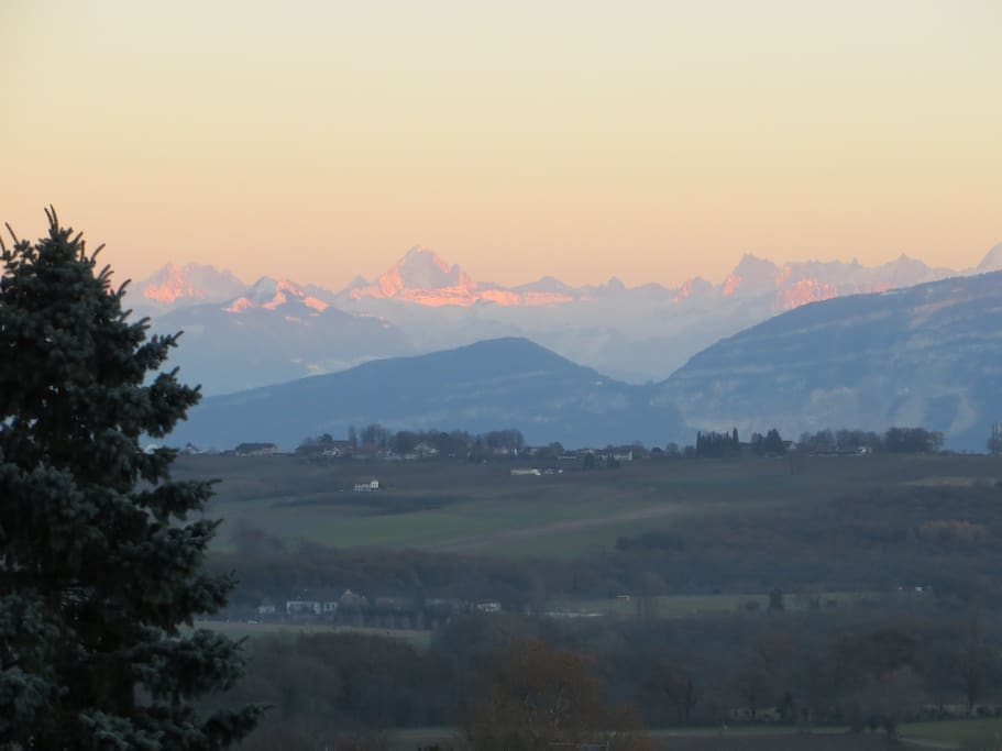 View of the Alps from the back of the house.
