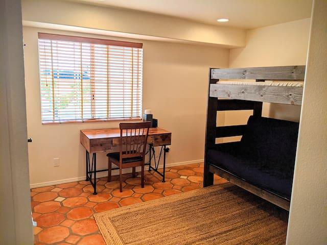 Bedroom 4, desk, full/twin bunk