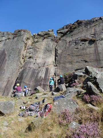 Rock climbing Froggatt Edge