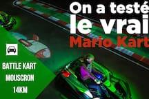 """Battle Kart à Mouscron.  Piste de karting avec un système ingénieux qui nous replonge dans l'univers du célèbre jeu vidéo """" Mario Kart"""" !!"""