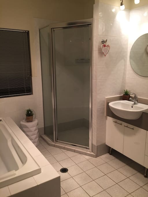 Bath, separate shower and double vanity.  Two separate toilets located upstairs and downstairs.  Clean.