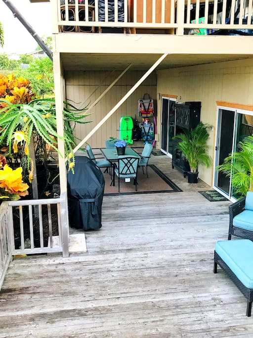 The sliding glass doors are your entrance to the rental. Your own private lanai and grill.