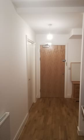 Hallway with main door and guest bedroom door.
