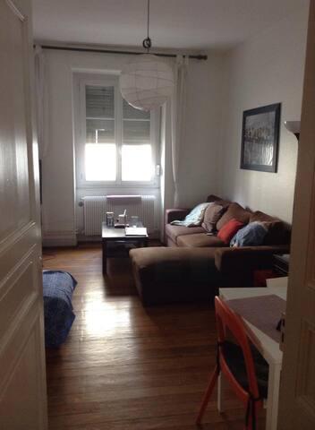Salon avec fenêtre donnant sur la rue, et balcon à côté
