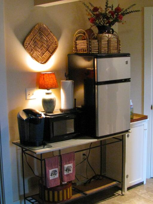 MINI FRIDGE W/FREEZER,MICROWAVE AND KURIG COFFEE MAKER(BRING YOUR FAORITE BREW)