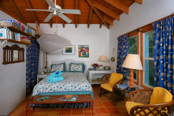 Guest Cottage:Queen size bed in one room cottage