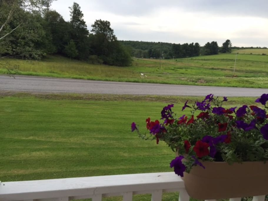 View from front porch of meadows across valley
