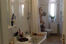 Bad mit Badewanne und Duschvorhang