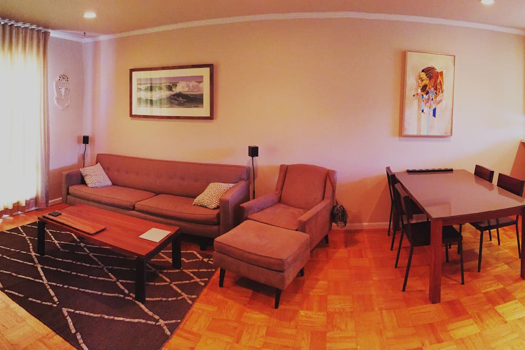 Living room & dining area.