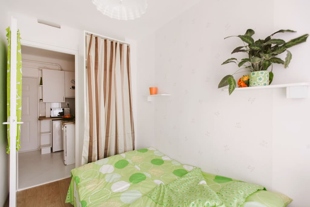 Bedroom, wardrobe and kitchen