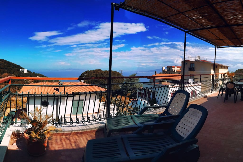 #Terrace with panoramic view #Gulf of Naples #Solarium area #Sea view