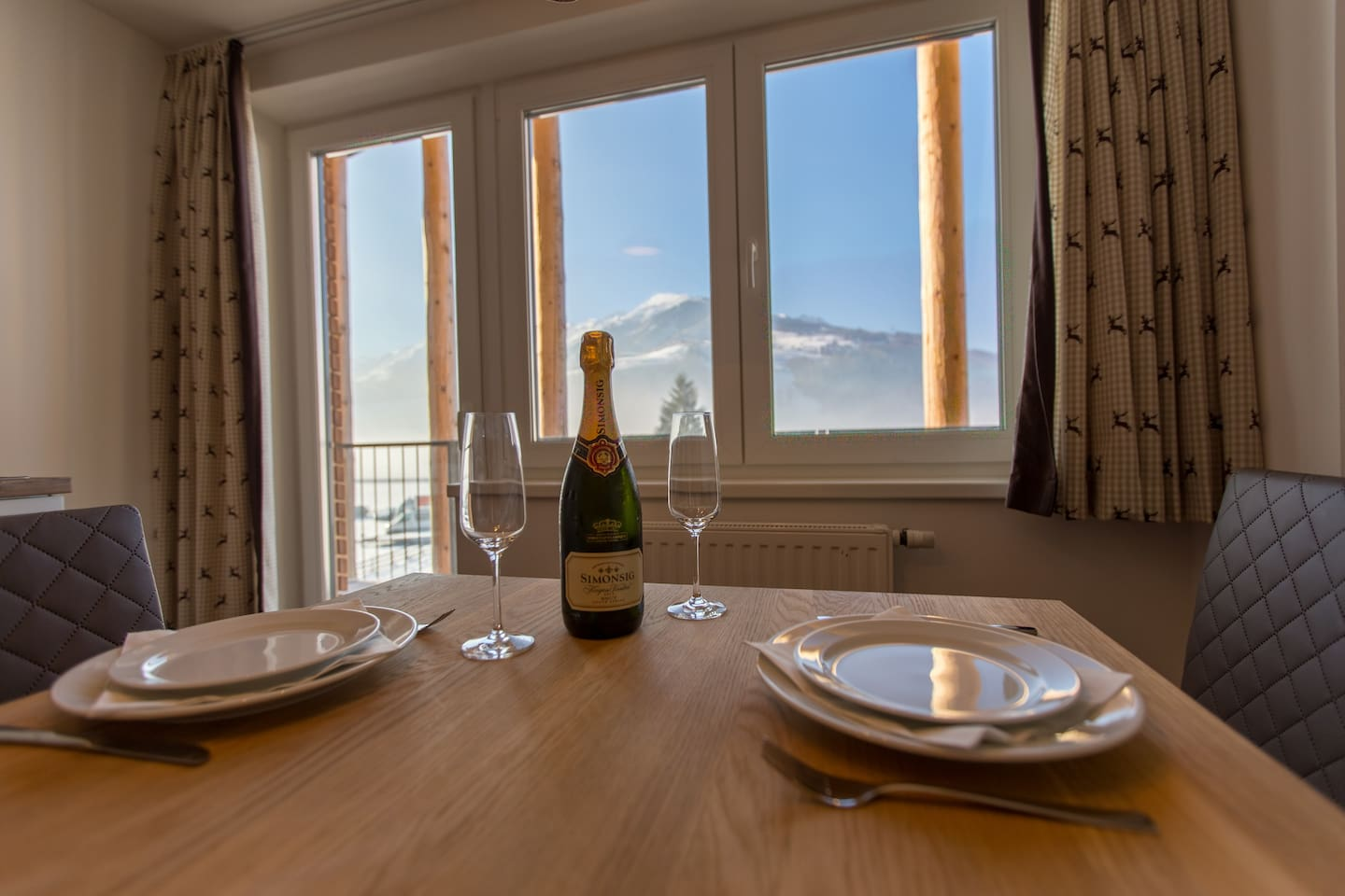 Our dining area with view on Kitzsteinhorn glacier