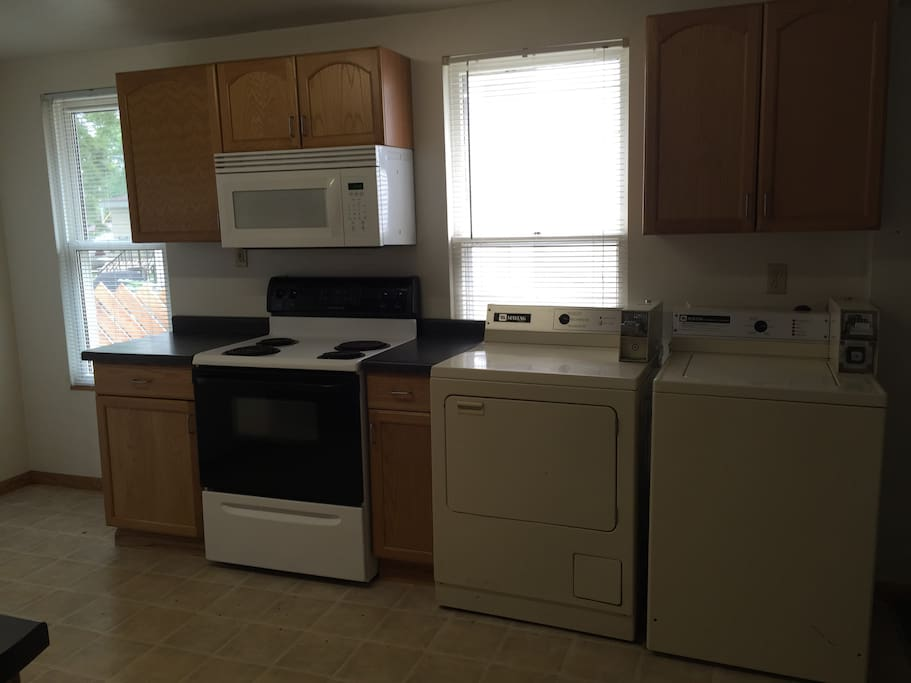 FREE washer and dryer in kitchen. Soap provided.  Microwave and stove.