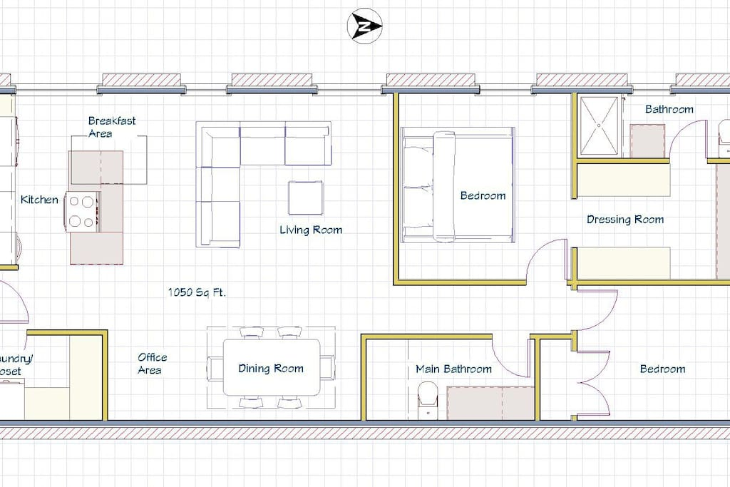 Floorplan.  1000+ sq Ft.