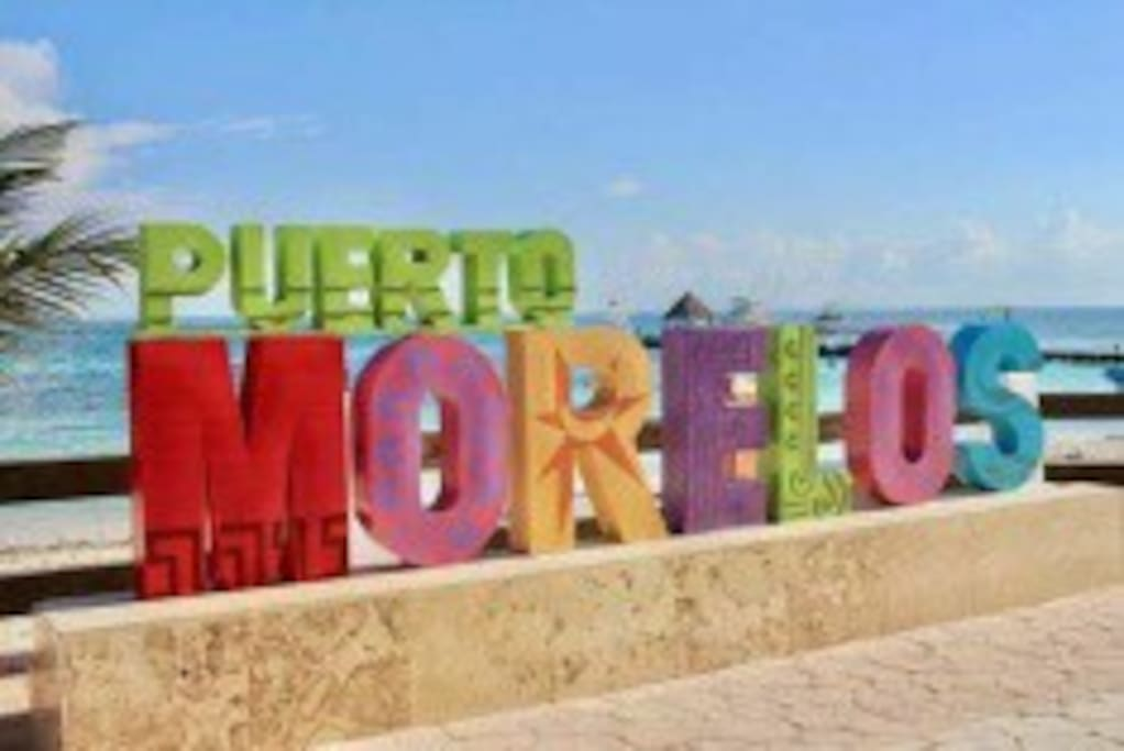 5 min drive to Puerto Morelos Malecon and plaza