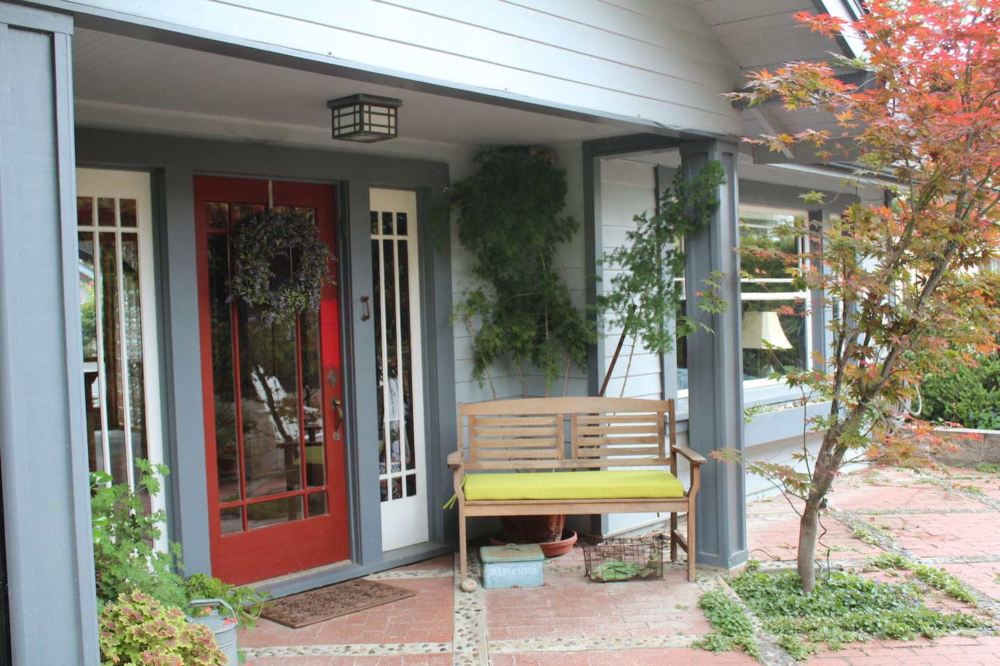 Front entrance with porch where you can sit with your coffee