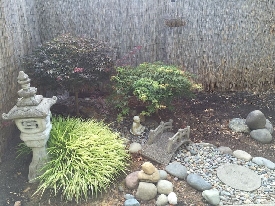 In our backyard we offer a small corner to meditate and stretch in our Zen Garden. The garden is covered with manicured Japanese Maples. (Yoga mat available upon request. Zen sold separately) There is a $5 charge for a Budda Belly Rub... It's worth it. ;)