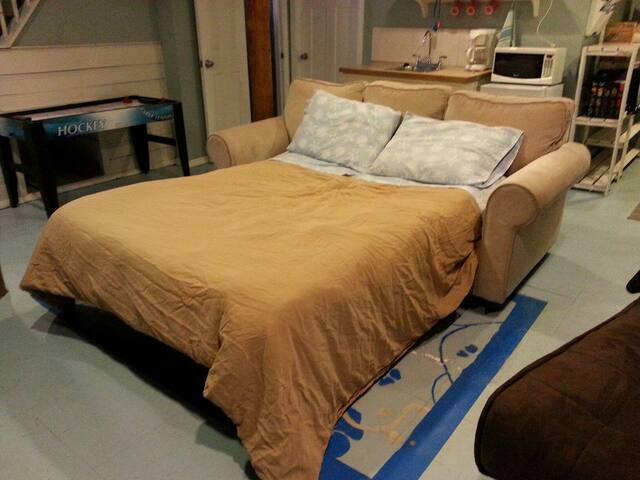 Sofa converts to a full-size bed