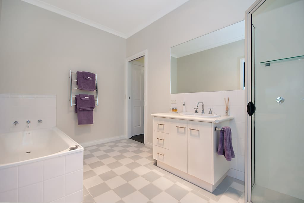 Spacious bathroom with large shower and bath separate.