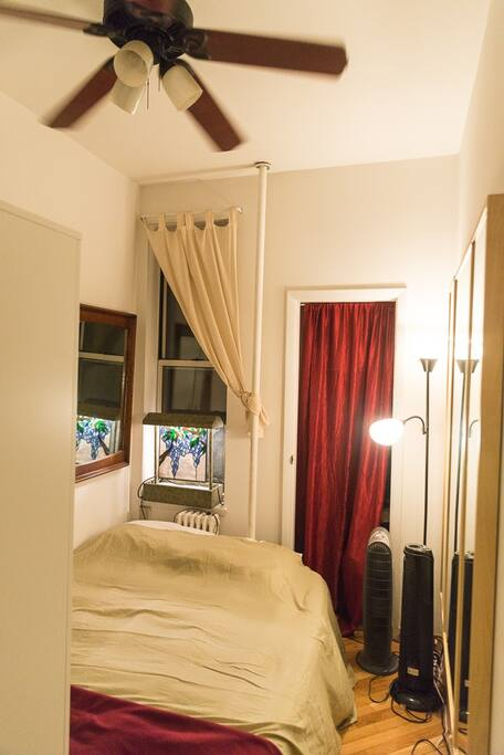 bedroom with excellent memory foam bed, cozy feel and plenty of storage