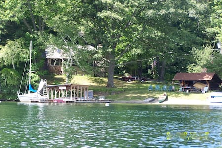 Beach, dock, lovely cove, warm clear water - Lake George