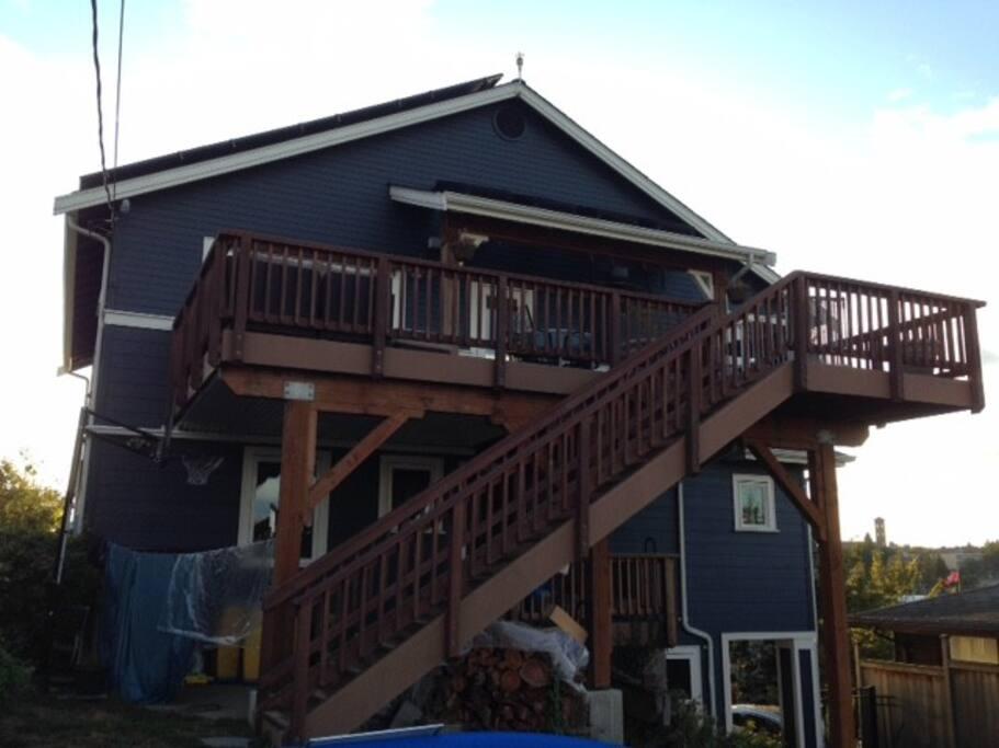 Large back deck for lounging or enjoying meals.