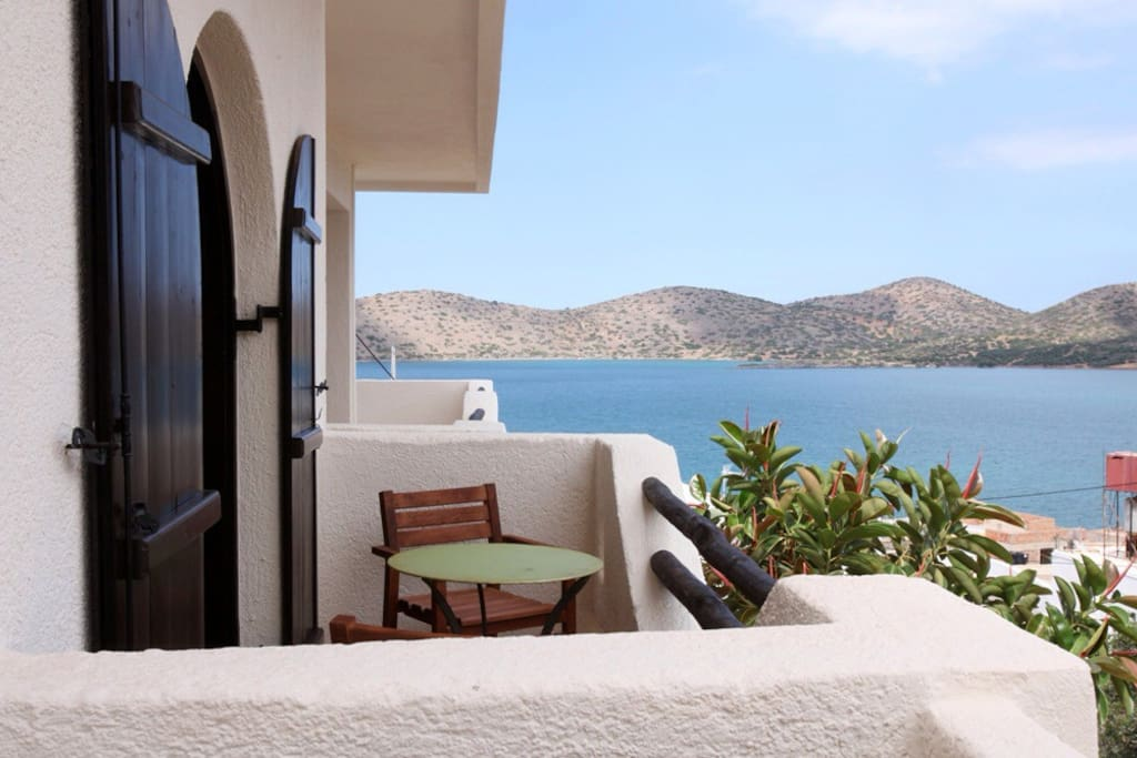 Majestic view of Elounda bay from the balcony of the apartment.
