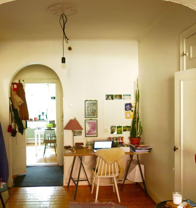 Desk and hallway