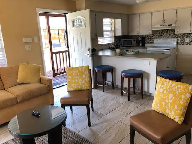 Family room area with full kitchen