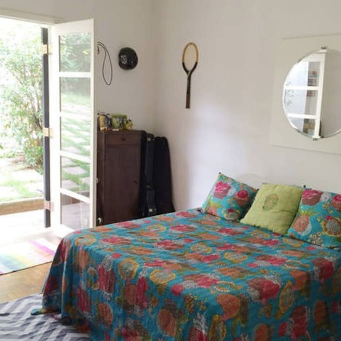 double room, brightly lit room, comfy and sunny bedroom.