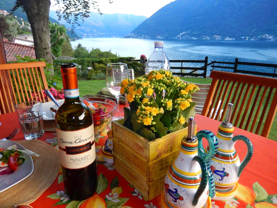 Enjoy lakefront dining with a stupendous view of Lago di Como!