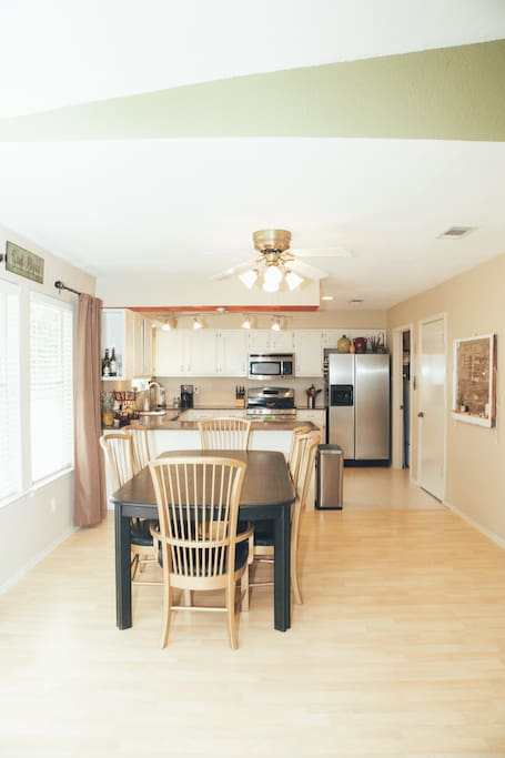 Open concept dining and kitchen area make entertaining easy