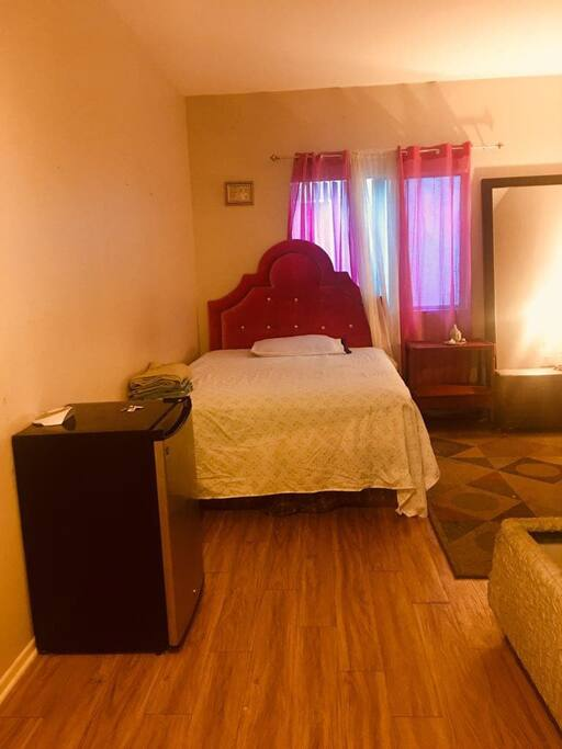 Cozy bedroom with comfy bed