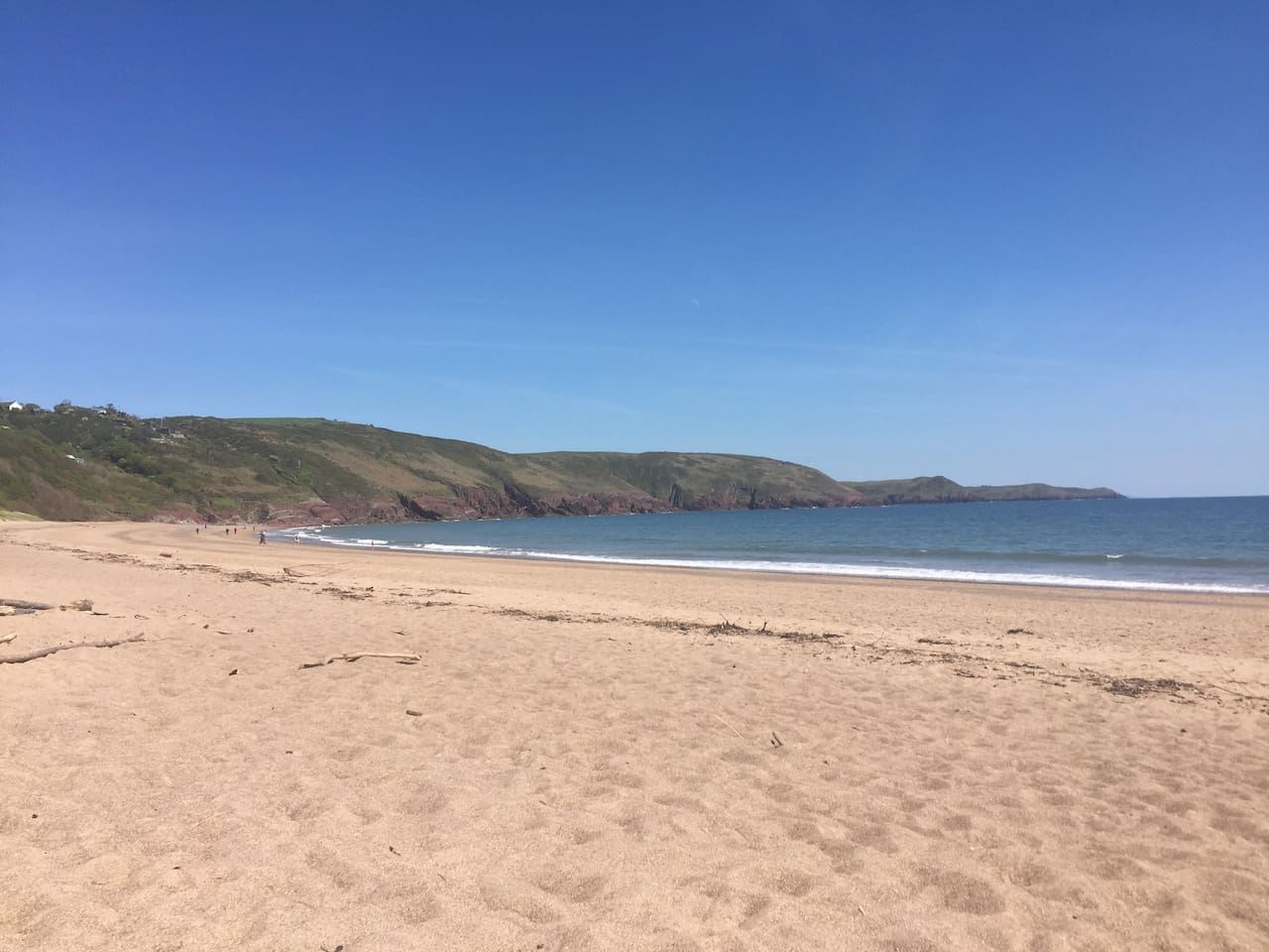 Stunning Freshwater East Beach, just 5 minutes walk from the chalet