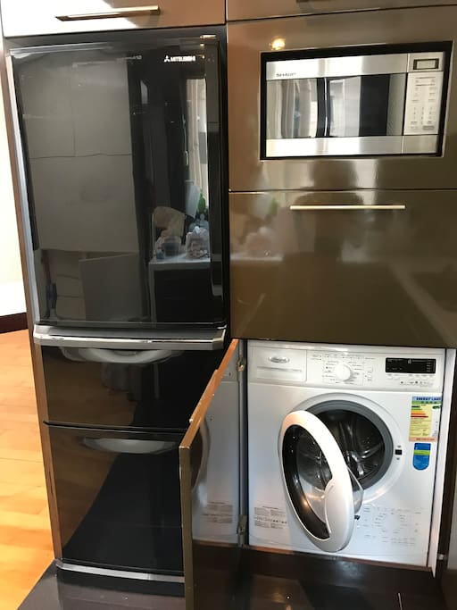 Washing machine available. No dryer. Drying rack provided.