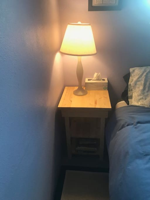Bedside Table with Lamp